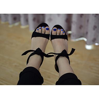 Naiset Kengät PU Kevät Comfort Sandaalit Käyttötarkoitus Kausaliteetti Musta Beesi Sininen