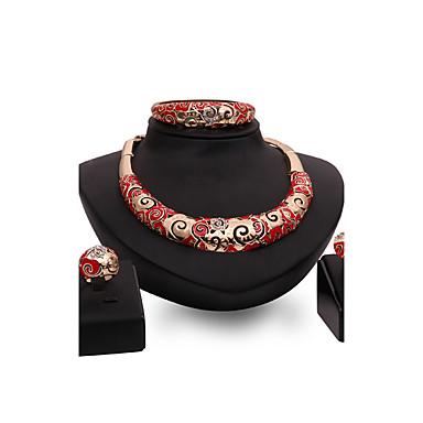Mulheres Ruby Sintético Conjunto de jóias - Strass, Chapeado Dourado Importante, Personalizada, Luxo Incluir Dourado Para Festa / Ocasião Especial / Housewarming / Anéis / Bracelete