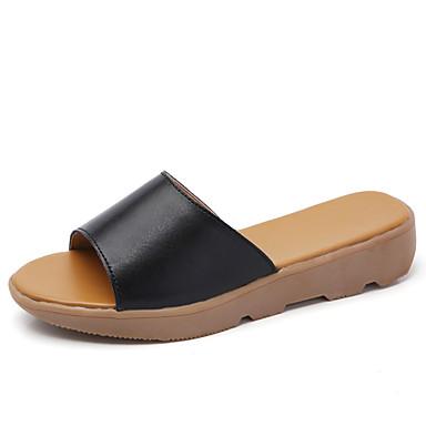 Mulheres Sapatos Couro Verão / Outono Conforto Chinelos e flip-flops Sem Salto Ponta Redonda Preto / Laranja / Azul