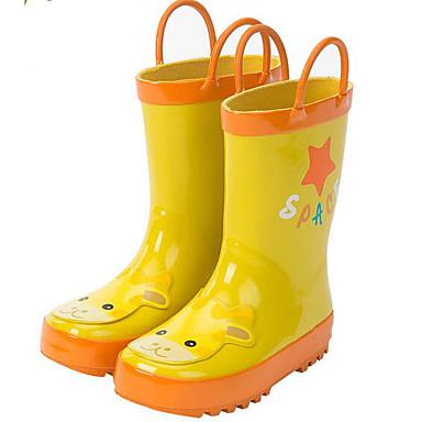 Tyttöjen kengät Kumi Kevät Syksy Tasapohjakengät Kävely Tarranauhalla varten Keltainen Sininen Pinkki