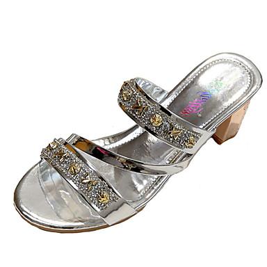 Damen Schuhe Kunstleder / PU Sommer Sandalen Blockabsatz Offene Spitze Gold / Silber