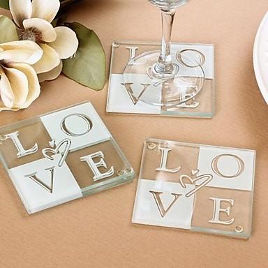 endlose Liebe Glas Untersetzer Gefälligkeiten - 2pcs / Box - Brautjungfern / Bachelorette / Hochzeit Andenken