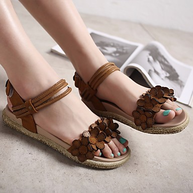 Damen Schuhe PU Frühling Komfort Sandalen Für Normal Dunkel Braun Khaki
