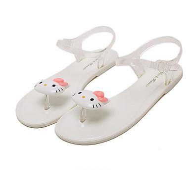 Naiset Kengät PP (polypropeeni) Kevät Comfort Sandaalit Käyttötarkoitus Kausaliteetti Valkoinen Musta Kristalli