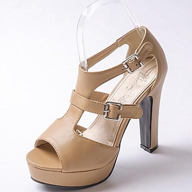 Mulheres Sapatos Courino / Couro Ecológico Verão / Outono Conforto / Inovador / Sapatos formais Sandálias Caminhada Salto Robusto Ponta