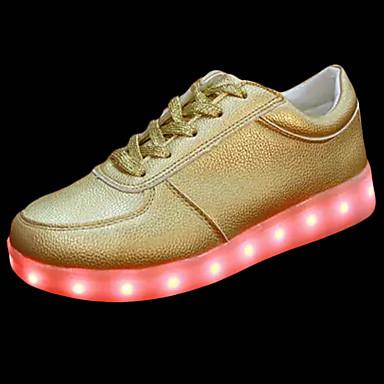 Mulheres Sapatos Couro Ecológico Primavera Outono Tênis Caminhada Sem Salto Ponta Redonda LED para Dourado