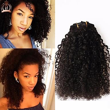 8a kravatý kudrnatý klip v prodloužení lidského vlasu filipino 100% lidský remy vlasy lidské vlasy 120g / set přírodní barva