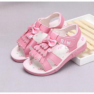 Tyttöjen kengät Tekonahka PU Kevät Syksy Ensikengät Tasapohjakengät Kävely Tarranauhalla varten Päivittäin Valkoinen Persikka Pinkki
