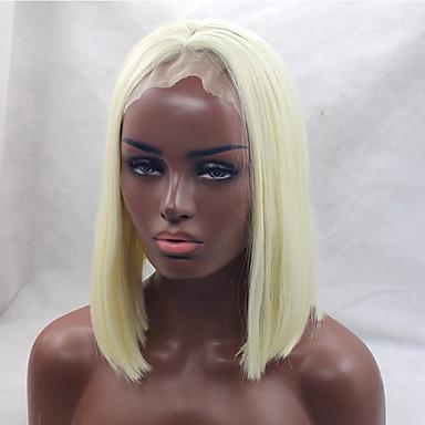 Synteettiset hiukset Peruukit Laineita Keskijakaus Bob-leikkaus Lace Front Luonnollinen peruukki Lyhyt Vaaleahiuksisuus