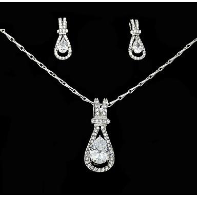 للمرأة مجموعة مجوهرات - قطرة تتضمن أبيض من أجل زفاف حزب الذكرى السنوية / عيد ميلاد