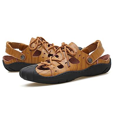 Homens sapatos Micofibra Sintética PU Verão Chanel Sandálias para Casual Marron Khaki