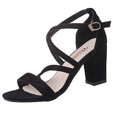 Naisten Kengät PU Kesä Comfort Sandaalit Paksu korko Musta / Beesi