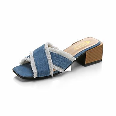 Dámské Boty PU Léto Pohodlné Sandály Chůze Rovná podrážka Otevřený palec Imitace perel pro Venkovní Hnědá Modrá