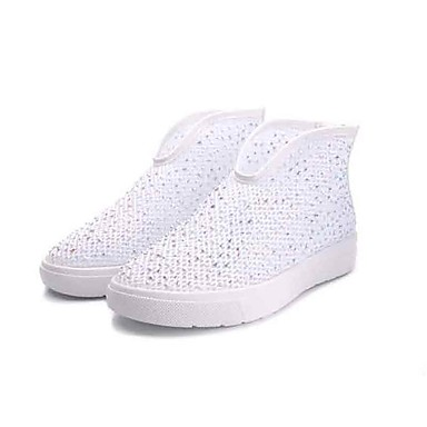 Damen Schuhe Tüll Jahreszeiten Sommer Komfort Sneakers Walking Flacher Absatz Runde Zehe Glitter Reißverschluss für Alltag Gold Silber