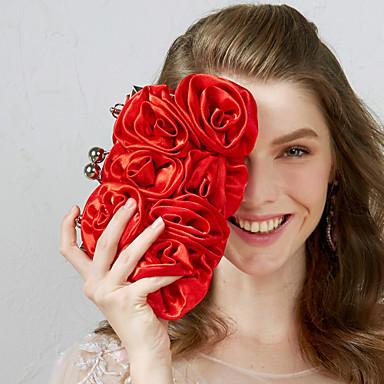 povoljno Clutch i večernje torbice-Žene Cvijet Najlon Večernja torbica Crn / Crvena / Marelica / Jesen zima