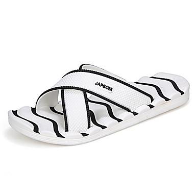 Herren Schuhe Gummi PVC Frühling Komfort Slippers & Flip-Flops Für Normal Weiß Grau Marinenblau