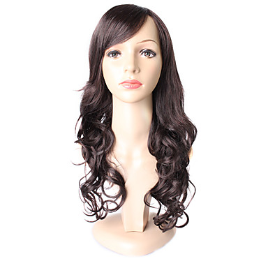 Damen Synthetische Perücken Lang Lose gewellt Dunkelbraun / Dunkel Auburn Gefärbte Haarspitzen (Ombré Hair) Natürliche Perücke