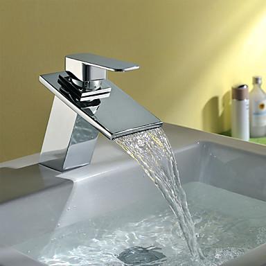 Moderne Art déco/Retro Modern Mittellage Wasserfall Keramisches Ventil Ein Loch Einhand Ein Loch Chrom, Waschbecken Wasserhahn