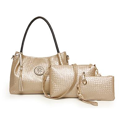 Mulheres Bolsas Couro Ecológico Conjuntos de saco 3 Pcs Purse Set Ziper para Casual Todas as Estações Azul Dourado Branco Preto