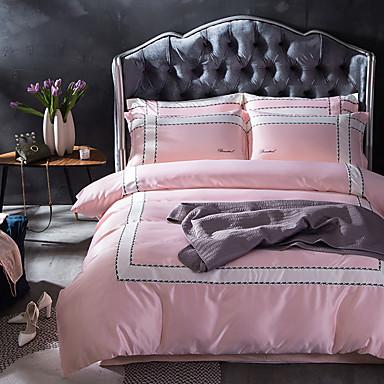 Solide 4 Stück Seide Baumwolle Applikation Seide Baumwolle 1 Stk. Bettdeckenbezug 2 Stk. Kissenbezüge 1 Stk. Betttuch