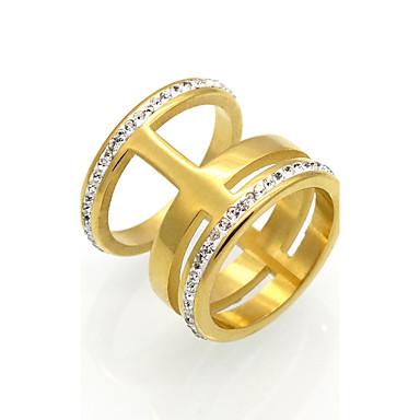 Herrn Damen Ring Statement-Ring Bandring Kubikzirkonia Gold Silber Kubikzirkonia Titanstahl 18K Gold Kreisförmig Geometrische Form