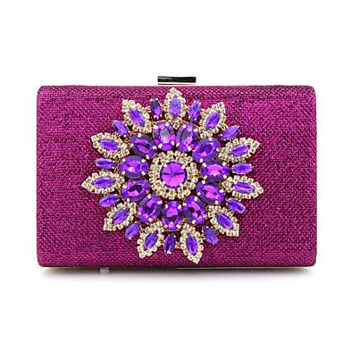 Damen Taschen PU Polyester Geldbörse Kristall Verzierung für Ganzjährig Blau Gold Silber Rote Fuchsia