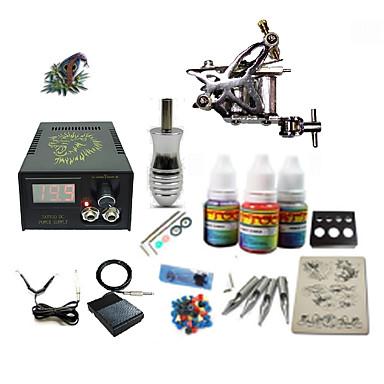 Máquina de tatuagem Conjunto de Principiante - 1 pcs máquinas de tatuagem com 1 x 5 ml tintas de tatuagem LCD de alimentação No case