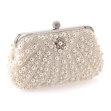 Women's Bags Polyester Evening Bag Rhinestone / Pearls White