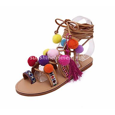Naiset Kengät PU Kevät Comfort Sandaalit Käyttötarkoitus Kausaliteetti Musta/valkoinen Sateenkaari