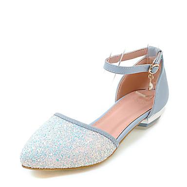 Mulheres Sapatos Courino Verão D'Orsay Conforto Sandálias Salto Baixo Dedo Apontado Pérolas Sintéticas Presilha para Casamento Casual