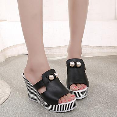 Naiset Sandaalit Comfort Kesä PU Kausaliteetti Tasapohja Valkoinen Musta Tasapohja