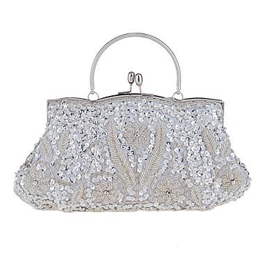 Dámské Tašky Bavlna Večerní kabelka Flitry pro Svatební Večírek Ležérní Formální Celý rok Stříbrná Rubínově červená