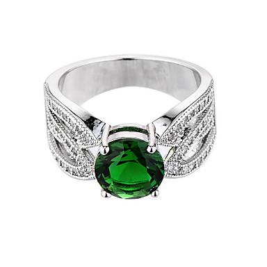 Women's Synthetic Emerald Ring - Zircon, Emerald, Alloy Unique Design, Fashion, Euramerican 6 / 7 / 8 Green For Wedding / Special Occasion / Anniversary