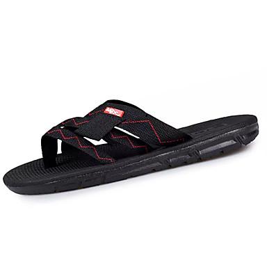 Miesten kengät PU Kesä Tossut & varvastossut Kävely Palmikoitu hihna varten Musta Tumman ruskea