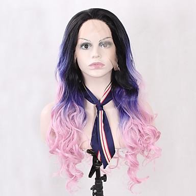Syntetické čipky předních paruky Vlnitá Přírodní vlasová linie Ombre vlasy Růžová Modrá Dámské Se síťovanou přední částí Přírodní paruka
