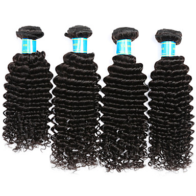 Indiai haj Mély hullám Emberi haj sző 4 darab Az emberi haj sző