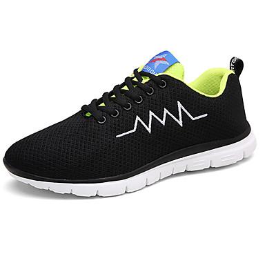 Homens sapatos Tule Primavera Outono Conforto Tênis Corrida Cadarço para Ao ar livre Preto Cinzento Verde/Preto