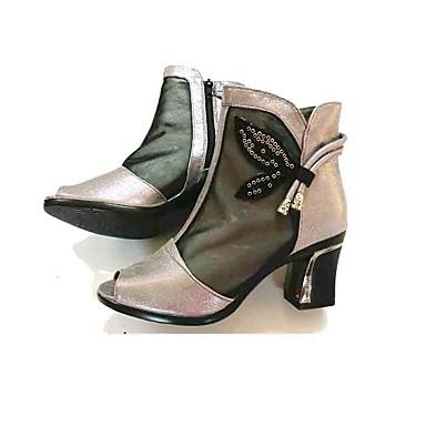 Mulheres Sapatos Tecido Tule Primavera Verão Chanel Saltos Salto Robusto Peep Toe Miçangas Ziper para Casual Social Preto Cinzento