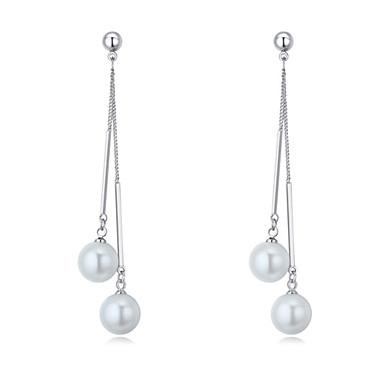 Dámské Imitace perly Visací náušnice - Euramerican Módní Stříbrná Kulatý Náušnice Pro Svatební Párty Narozeniny