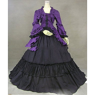 Vintage / Góticas / Vitoriano Ocasiões Especiais Mulheres Vestidos / Festa a Fantasia / Baile de Máscara Vintage Cosplay Algodão / Other