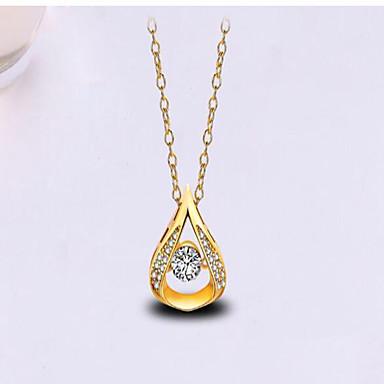 Damen Tropfen Gestalten Modisch Anhängerketten Synthetischer Diamant Zirkon vergoldet Anhängerketten Geburtstag Herzliche Glückwünsche