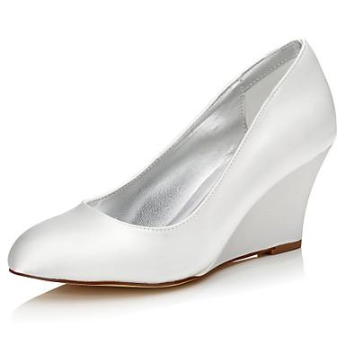 Femme Chaussures de mariage Soie Automne Hiver Talon Compensé Ivoire 5 à 7 cm