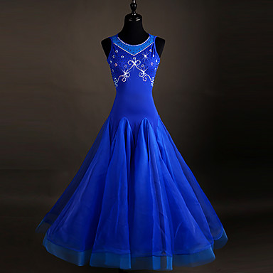 Ballroom Dance Dresses Women's Spandex / Organza Crystals / Rhinestones Sleeveless Dress