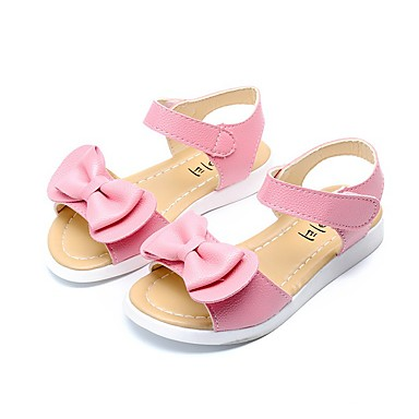 Girls' Shoes Microfiber Summer / Fall Comfort / Slingback / Flower Girl Shoes Sandals Walking Shoes Bowknot for White / Peach / Pink / Rubber