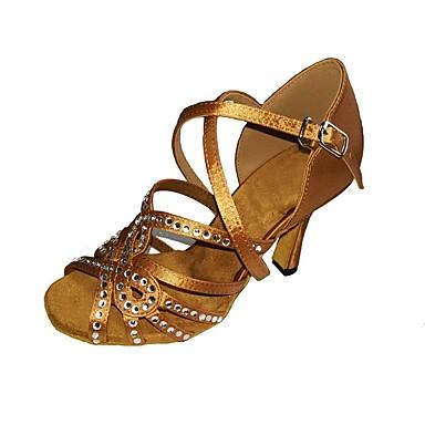 Mulheres Sapatos de Dança Latina Cetim / Seda Sandália / Salto Pedrarias / Presilha Salto Agulha Personalizável Sapatos de Dança Preto /