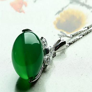 Naisten Riipus-kaulakorut Synteettinen Emerald Korut Smaragdi Metalliseos Muoti Euramerican minimalistisesta Korut Käyttötarkoitus Häät