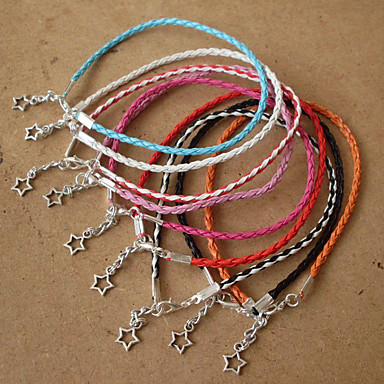 Mulheres Pulseiras de couro - Pele Coração, Estrela Boêmio, Boho Pulseiras Vermelho / Rosa claro / Azul Claro Para Dia a Dia Esportes