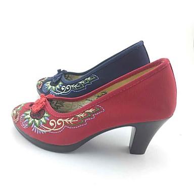 Damen Schuhe Stoff Frühling Herbst High Heels Blockabsatz Spitze Zehe Schnalle Blume für Dunkelblau Rot