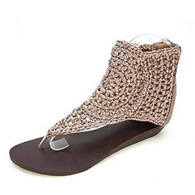Naiset Kengät Nappanahka Nahka Kevät Comfort Sandaalit Käyttötarkoitus Kausaliteetti Musta Manteli