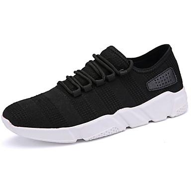 Miesten kengät PU Kevät Syksy Comfort Urheilukengät Jouksu Solmittavat varten Urheilullinen Valkoinen Musta Tumman harmaa Punainen